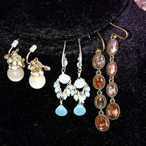 Set of 3 stone earrings all with hook back.